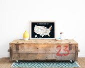 USA Adventure Map Wall Art Print, Personalized Travel Map, 18x12, Black, Kid's USA Map, Gender Neutral, Customized,United Sta