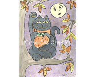 An Autumn Good Luck Wish - Choose from ACEO Print, Note Cards, or Art Print