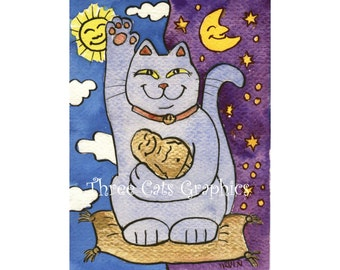 Blue Neko with Buddha on Gold Pillow - Choose from ACEO Print, Note Cards, or Art Print