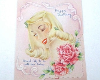Vintage 1940s Unused Embossed Pink Happy Birthday Greeting Card with Pretty Blonde Lady and Roses