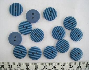 30 pcs of Stripe Button Sky Blue on Navy Blue - 15mm Matte