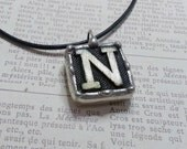 Initial N Pendant, Anagram Letter Necklace, Vintage Game Piece Jewelry