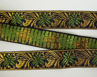 """1 yard 2"""" PALM GOLD Jacquard trim in green, gold on black. 1 1/8 inch wide. 285-A"""