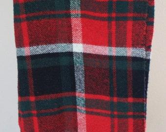 "Vintage Troy Wool Plaid 52""x 52"" Leisure Camp Blanket Red Green White Black Christmas Tartan"