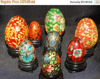Valentines Day Sale Vibrant Hand Painted Wooden Easter Eggs, Pysanky Easter Eggs, Ukrainian Wooden Eggs, Easter Basket Decoration, Easter Ho