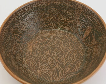 Wheel Thrown Stoneware Pottery Sgraffito Carved Bowl Green Leaves Butterflies