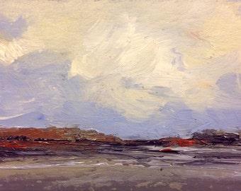 MINI 1658, oil painting, landscape, original, miniature art, 100% charity donation, oil painting on cardboard
