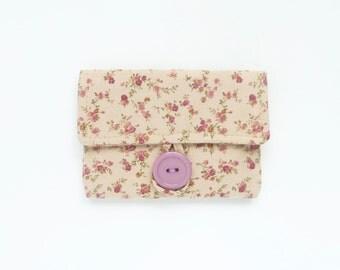 light brown cute card case. womens card holder. tan caramel floral fabric cute business card pouch. cotton teacher teen girl gift