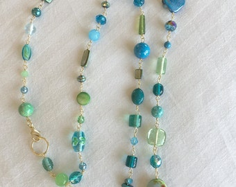 Long Multi Color Green & Blue with Gold Necklace - Glass Beads - Faceted Crystals - Lobster clasp - Double up to Layer