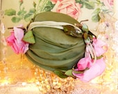 elsa schiaparelli paris hat; glorious vintage millinery 'silk' and velvet pink cabbage roses, moss green gathered fabric, fab chic style
