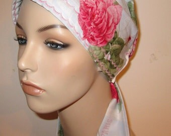Paris Roses  Chemo Scarf, Hat, Cancer Hat, Hijab, Alopecia MADE in USA