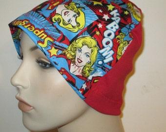 Kids Children Supergirl  Kids  Lightweight  Hat -Chemo, Cancer, Alopecia,Sleep Cap, Summer Chemo Hat