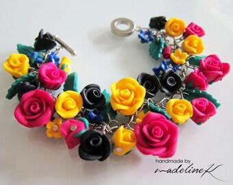 Spanish Rose Garden Bracelet, Handmade Polymer Clay Rose Bracelet, Flower Bracelet, Rose Bracelet, Pink Yellow & Black Rose Charm Bracelet