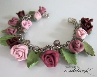 Burgundy Rose Garden Charm Bracelet - Handmade Polymer Clay Rose Bracelet - Rose Jewelry - Handcrafted Rose Charm Bracelet