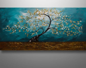Abstract Painting Art Original Painting Landscape Tree Painting by Gabriela 48x24 Teal Decor Home Decor Texture Modern Painting