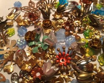 Vintage Brass Enamel Metal Glass Flowers for Creations (100+)(8-28mm)