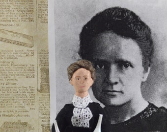 Madame Curie Doll Miniature - Scientific Art - Physics and Chemistry Science