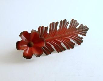 Vintage Tole Flower Leaf Metal Curtain Tie Back