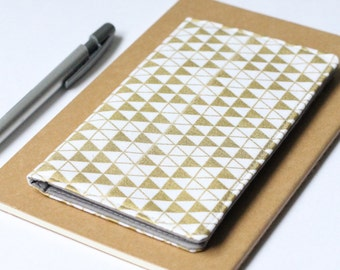 Gold Check Book Holder, Cute Checkbook Cover, Triangle Print Fabric Purse Accessories