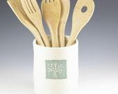 Bridal Shower Gift, Ceramic Utensil Holder, Handmade Farmhouse Pottery Crock, Kitchen Bridal Wedding Gift, Spoon Holder, Kitchen Organizing