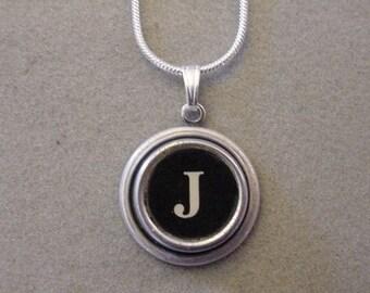Typewriter Key Jewelery Necklace BLACK LETTER  J  Typewriter Key Necklace Initial Necklace Inital J
