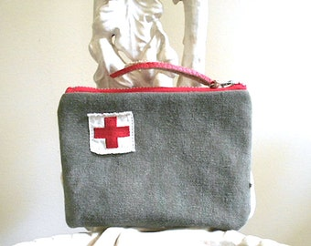 Military canvas, vtg Red Cross badge pouch, utility bag, wallet  - eco vintage fabrics