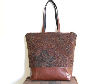 Leather tapestry carryall, zipper top tote bag - cognac salvaged leather - eco vintage fabrics