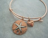 SALE Beach Lover's Charm Bracelet Pretty Rose Gold Sand Dollar Bangle