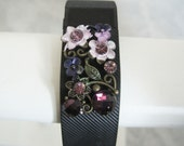 FItbit Bling Deep Purple and Pink Floral Fitness Bracelet and Charm