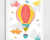 Oh The Places You'll Go Balloon Art Print, Typography, Nursery Wall Art Print, baby wall art