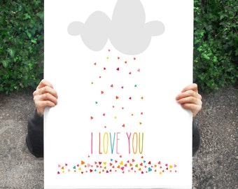 Kids Wall Art Print, Nursery Art, Children Wall Art. I Love You Raining Hearts... print by Finny and Zook