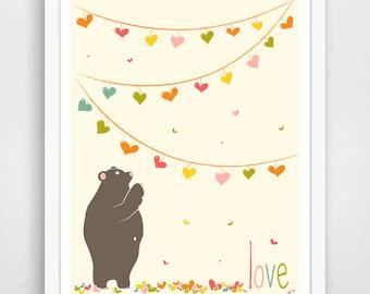 Love Bear Poster Print - Nursery Decor - Baby Wall Art