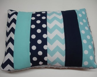 Navy and Aqua Chevron and Dots Strip-Style Patchwork Pillow Sham