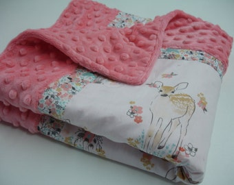Fawn in Tulip Aqua Tan and Coral 3Piece Blanket and Baby Crib Set Bedding  MADE TO ORDER