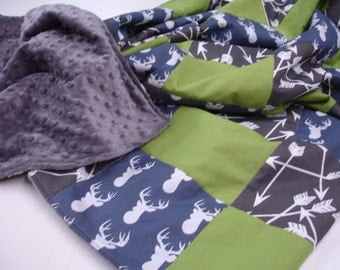 Deer Head Navy Lime Gray Arrows Minky Comforter Blanket You Choose Size and Minky Color MADE TO ORDER