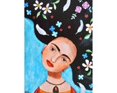Print of Frida Kahlo Painting Frida Kahlo Mexican Artist Portrait, Frida Illustration Print Mexican Folk Art Home Wall Decor Blue Floral