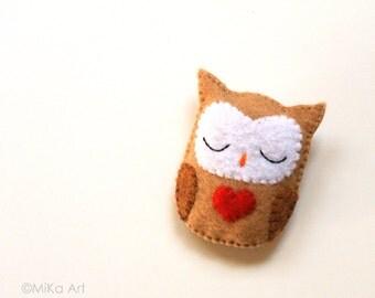 Owl Brooch Owl Felt Brooch Owl Felt Pin Handmade Owl Jewelry Woodland Fashion Accessory Cute Owl Red Heart Plush Owl Stuffed Felt Animal