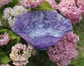 LISTING RESERVED For DEANNA Raspberry Purple Hand Blown Glass Flower Garden Art Sculpture Outdoor Decoration Garden Finial