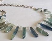 Tribal Goddess Rainbow Moonstone Blue Kyanite Crystal Falls Modern Tribal Fine Silver Neckace