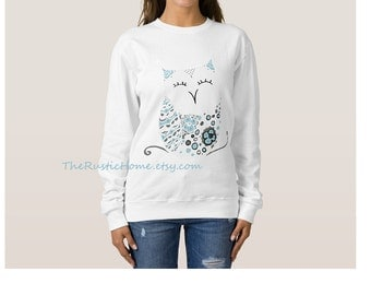 Snow owl sweatshirt size small med large 2x 3x soft cozy cotton white teal blue winter owl custom sweatshirt womens clothing rustic home