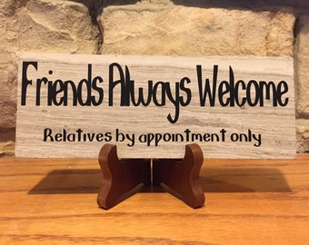 """Friends Always Welcome 3x9"""" ceramic tile"""