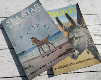 Vintage set of Marguerite Henry Books Sea Star and Brighty Horse Donkey Illustrated Wildlife animal Lovers Gift Equestrian Unique gift idea