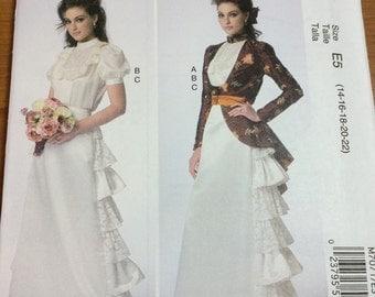 McCalls 7071 Steam Punk Gown Skirt Jacket Sewing Pattern Sizes 14-16-18-20-22 Ruffled Skirt Redingote