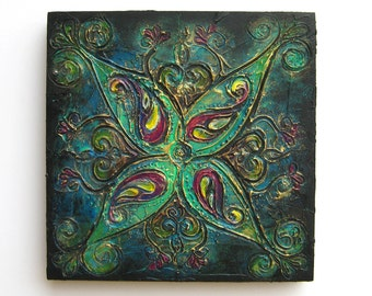 Rangoli VI - Original Abstract Textured Painting on Canvas 8 x 8 inch / Turquoise and Gold / Bohemian Interior Home Decor