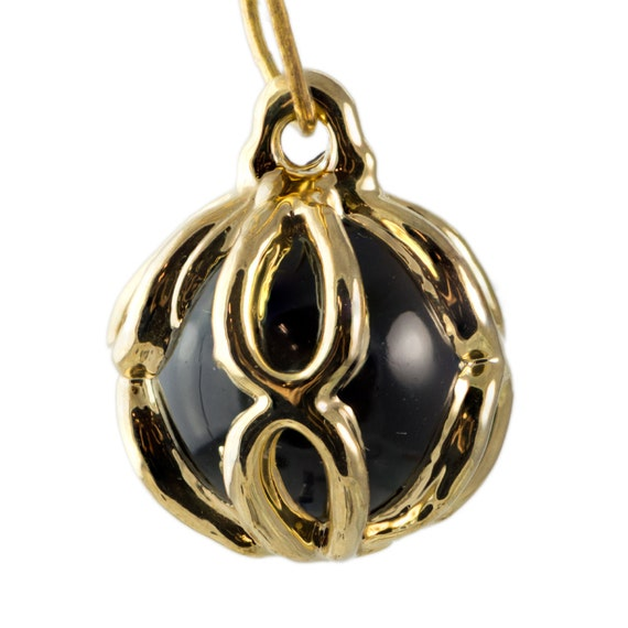 Rare Vintage Black Glass with Gold Frame Drop Pendant chr154h