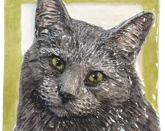 Cat Tile CERAMIC Portrait Sculpture 3d Art Tile Plaque FUNCTIONAL ART by Sondra Alexander Made to Order