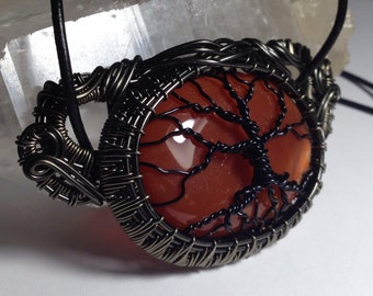 Woven wire wrapped Carnelian Tree Of Life necklace