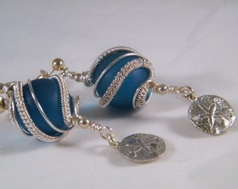 Sea Glass Style blue glass spheres with a Sand Dollar charms, earrings