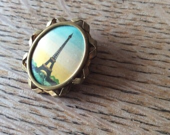 paris souvenir brooche with hand-painted Eiffel tower