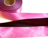 Pink Ribbon, Pink and Black Dual Tone Satin Ribbon 1 1/2 inches wide x 9 yards, SECOND QUALITY FLAWED